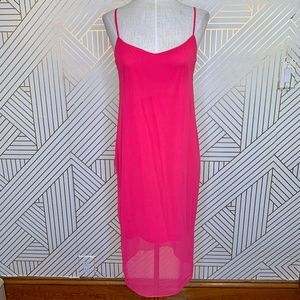 ASOS Hot Pink Chiffon Midi Slip Dress